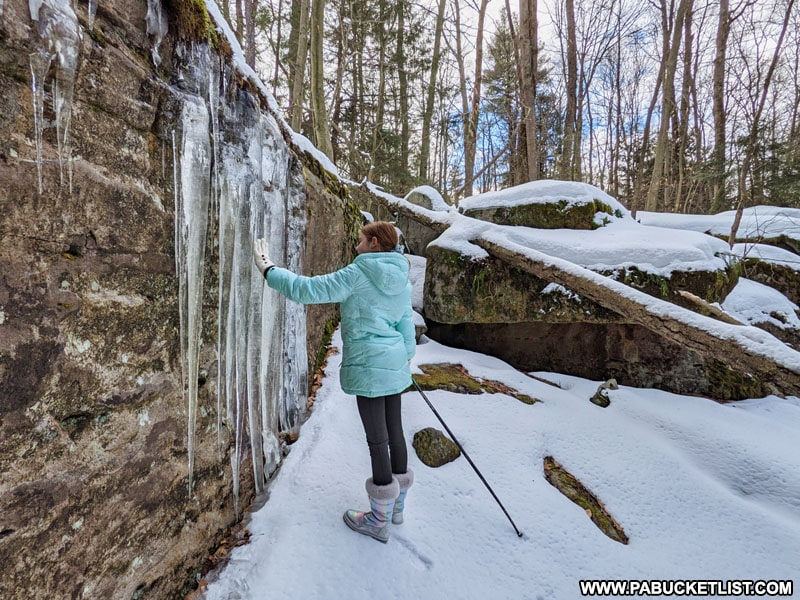 Exploring ice formations at Bilgers Rocks in Clearfield County PA