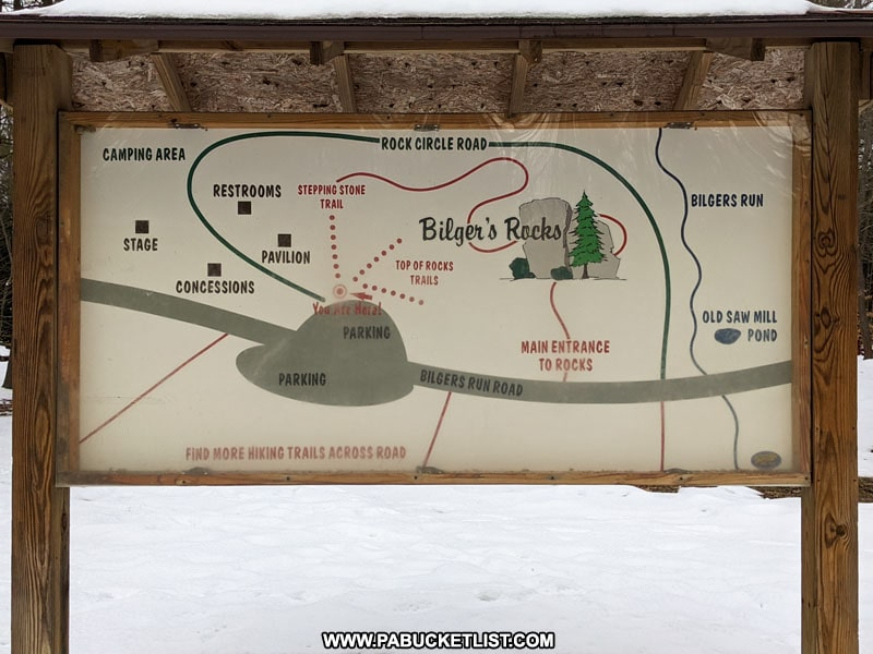 Bilgers Rocks Trail Map near the parking area.