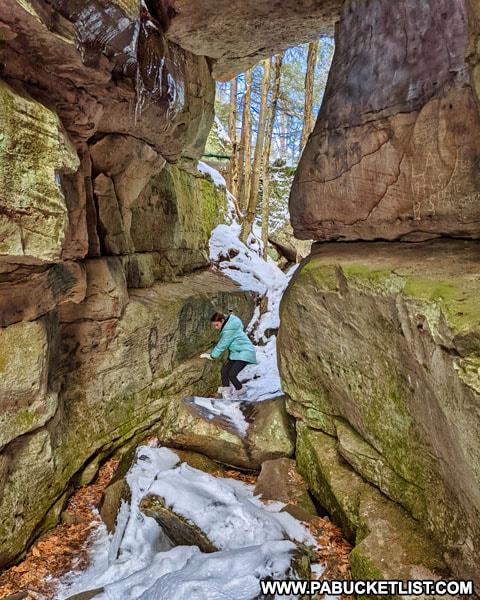 Exploring one of the passageways at Bilgers Rocks.
