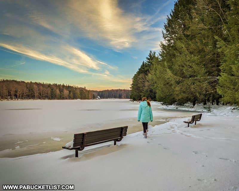 Winter sunset at Black Moshannon State Park.