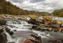 An autumn view of Youghioghney River from the Ferncliff Trail at Ohiopyle State Park.