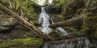 High Rock Falls at Worlds End State Park in Sullivan County Pennsylvania.