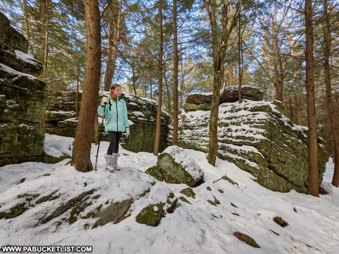 Exploring Bilger's Rocks in Clearfield County in the winter.