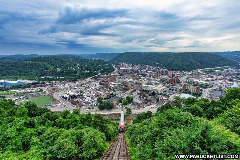 The view from the Johnstown Inclined Plane in Cambria County PA