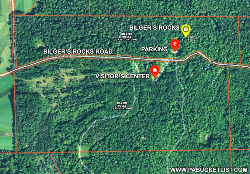 A map to Bilgers Rocks in Clearfield County Pennsylvania.