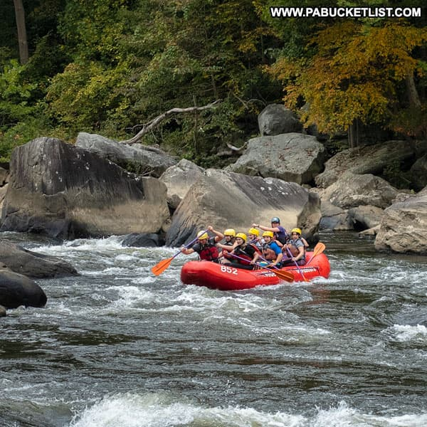 Whitewater rafters near Ferncliff Peninsula at Ohiopyle State Park.