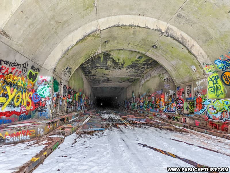 Snow at the mouth of Rays Hill Tunnel along the Abandoned Pennsylvania Turnpike.