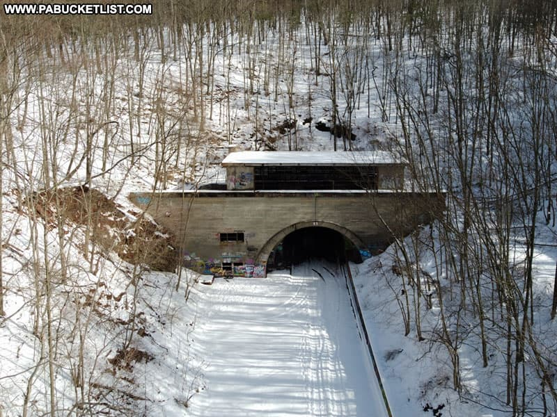 Approaching the snow-covered western portal of Rays Hill Tunnel along the Abandoned PA Turnpike.