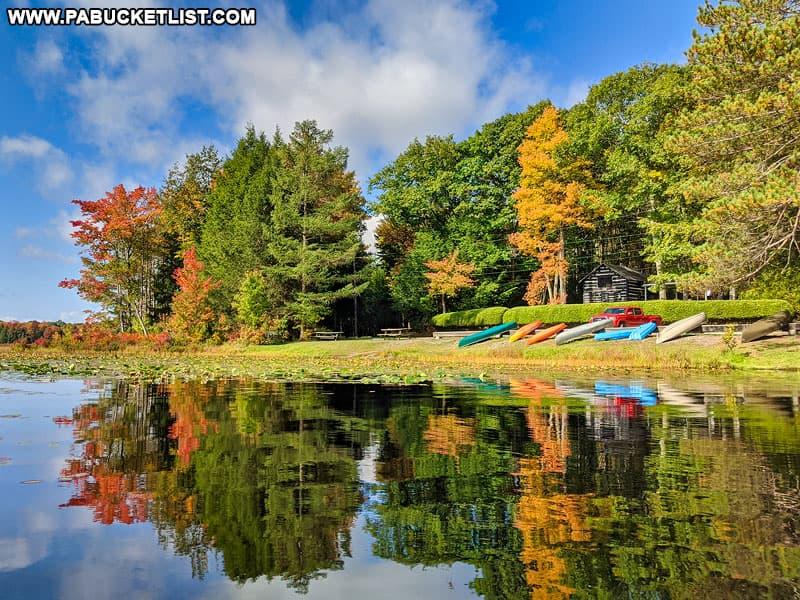 Colorful kayaks and canoes along the banks of Black Moshannon Lake.