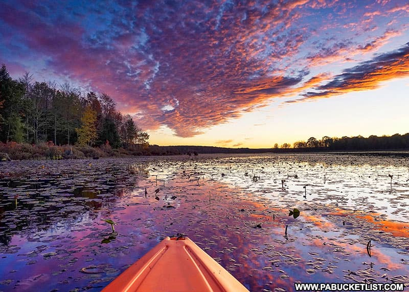Sunset at Black Moshannon State Park as viewed from a kayak.
