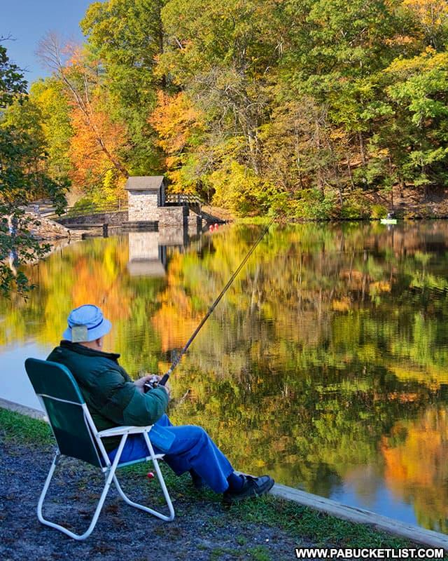 A fisherman enjoying an October day at Greenwood Lake.