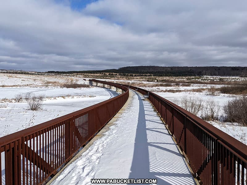 The Wetlands Bridge along the Allee Walking Trail at the Flight 93 National Memorial.