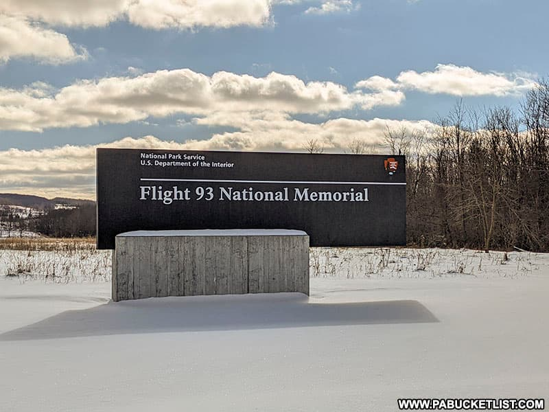 National Park Service sign at the entrance to the Flight 93 National Memorial.