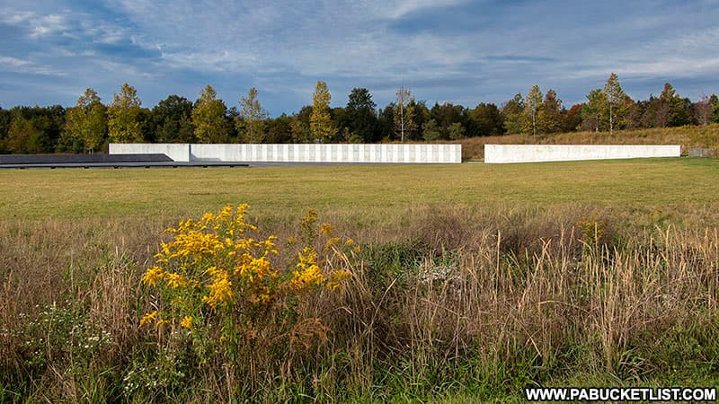 An autumn view of the Wall of Names at the Flight 93 National Memorial.