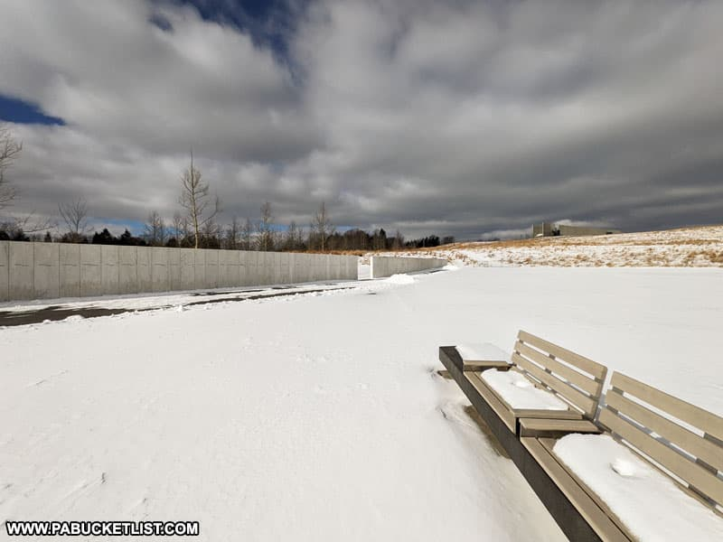 The Flight 93 Memorial Plaza on a winter afternoon.