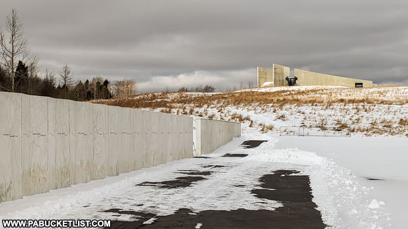 Winter at the Wall of Names and the Flight 93 National Memorial.