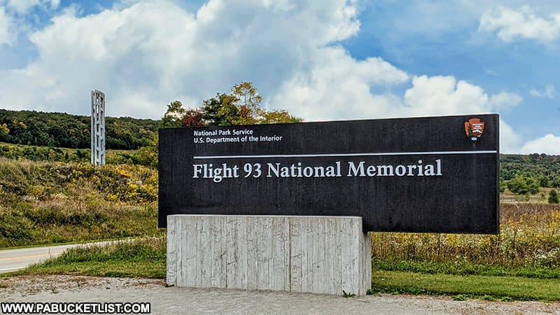 Sign near the entrance to the Flight 93 National Memorial.