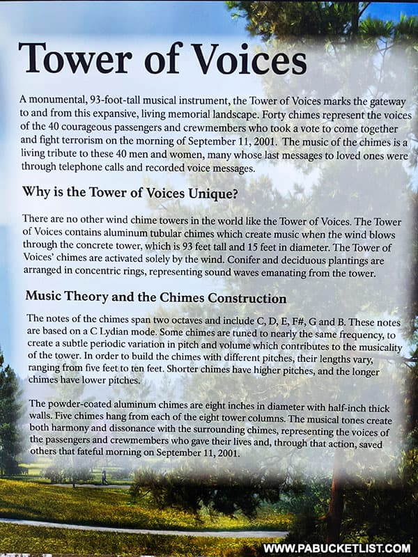 Informational plaque about the Tower of Voices at the Flight 93 Memorial near Shanksville PA