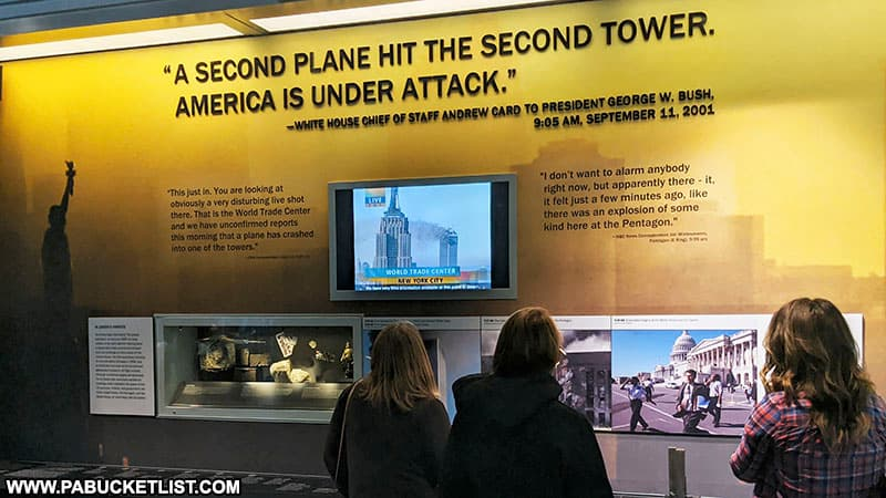 Interpretive display inside the Flight 93 Memorial Visitor Center about the morning of September 11 2001