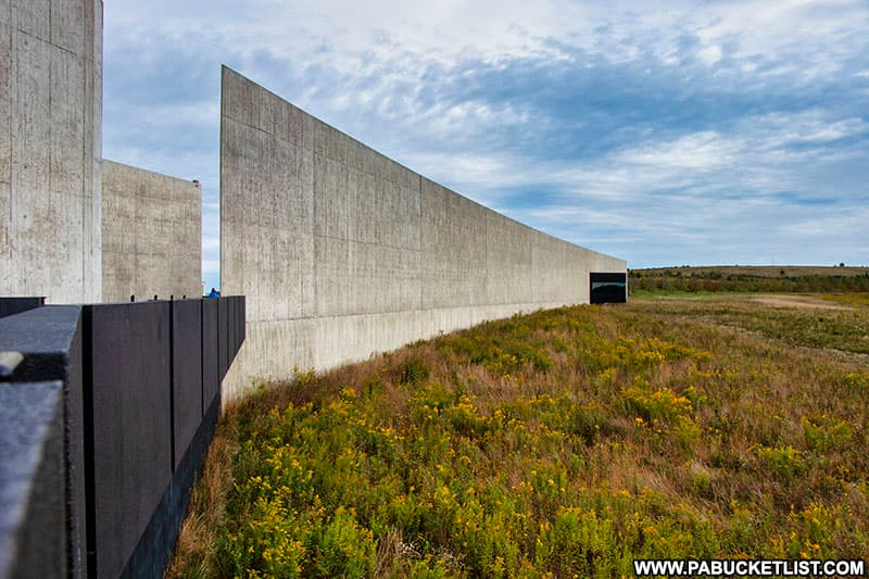 A view of the Flight 93 Memorial Visitor Center from the Overlook,