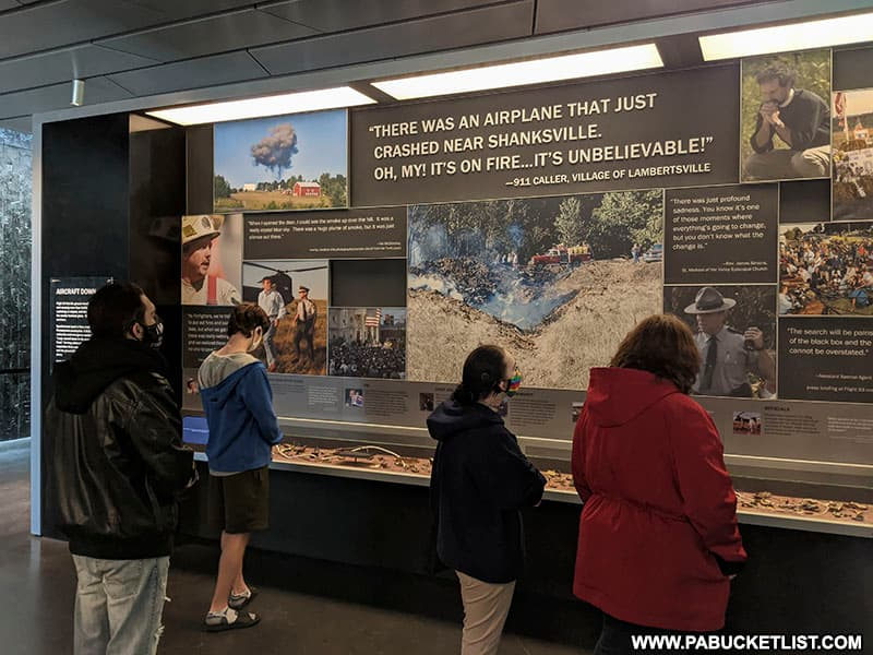 A display of items recovered from the Flight 93 crash site.