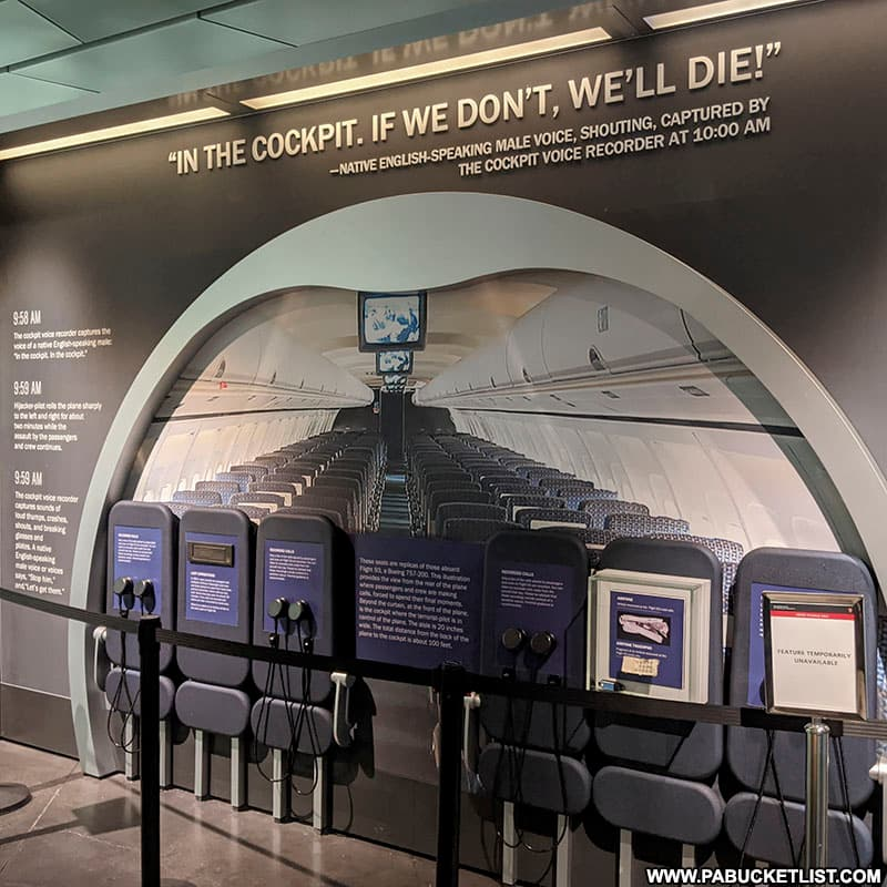 One of the interpretive displays inside the Flight 93 Memorial Visitor Center.
