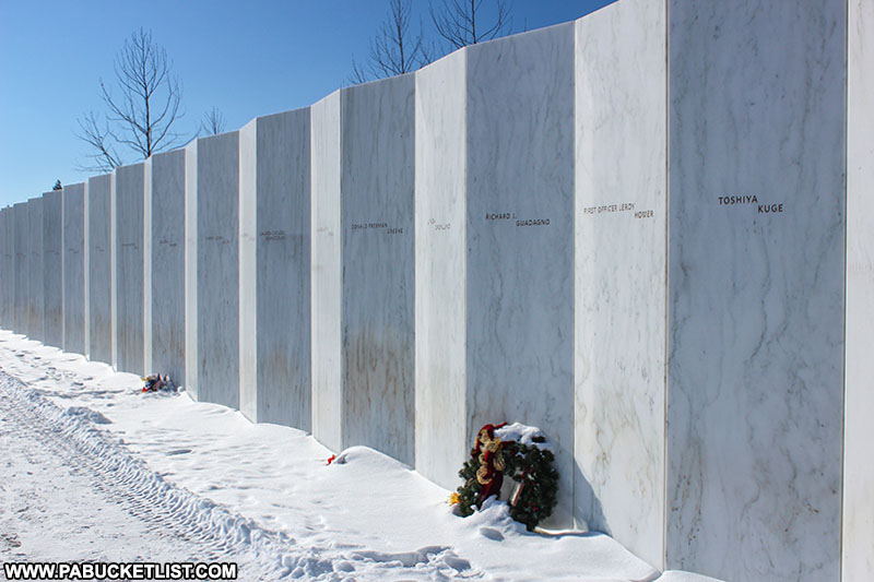 The Wall of Names at the Flight 93 Memorial near Christmastime.