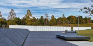Approaching the Wall of Names along the Plaza Walkway at the Flight 93 National Memorial near Shanksville PA
