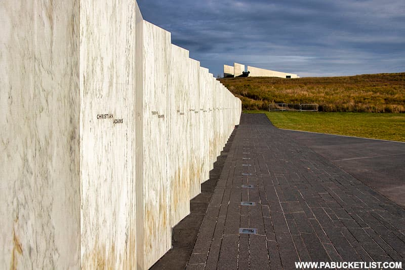 View from the Wall of Names looking towards the Visitor Center at the Flight 93 National Memorial.