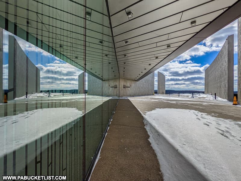 The front entrance of the Flight 93 National Memorial Visitor Center near Shanksville Pennsylvania