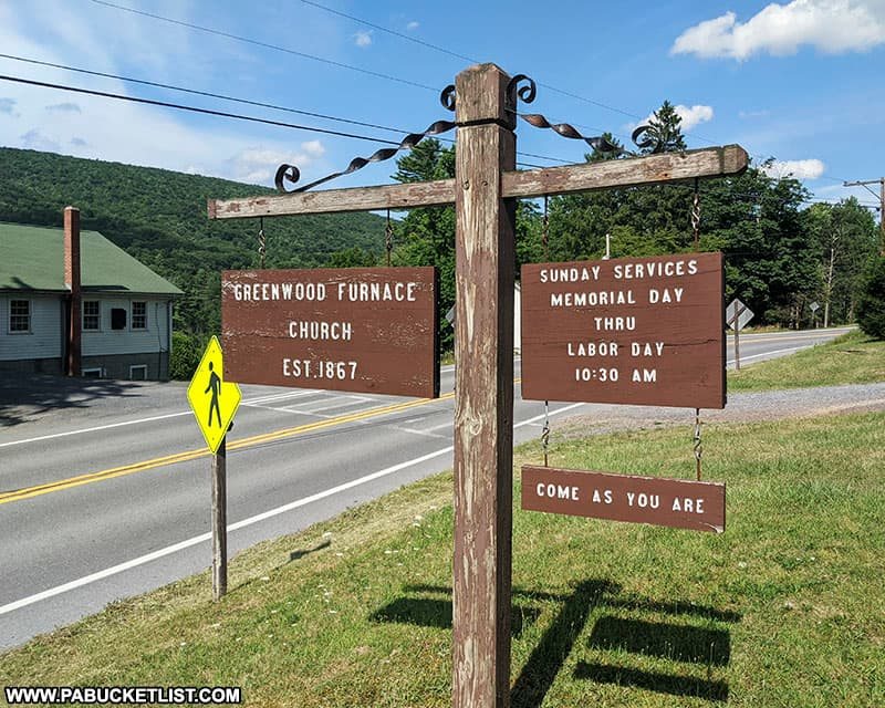 Greenwood Furnace Church sign at Greenwood Furnace State Park.