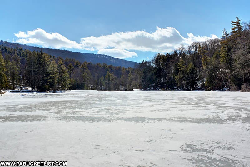 The frozen surface of Greenwood Lake.