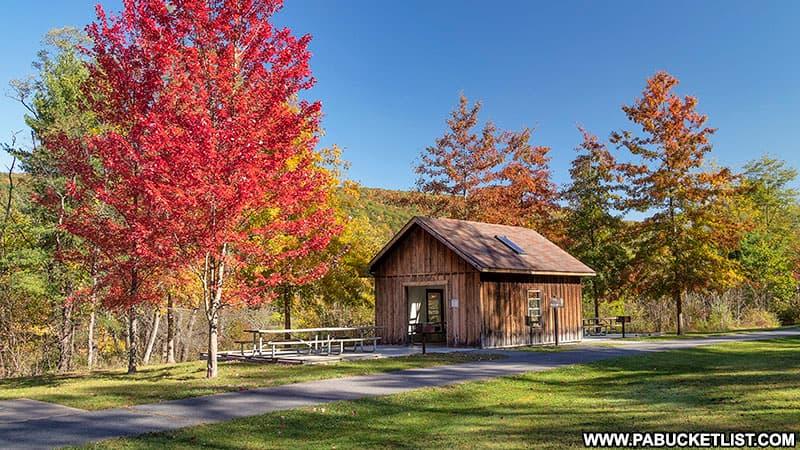 A picnic pavillion at Greenwood Furnace State Park.