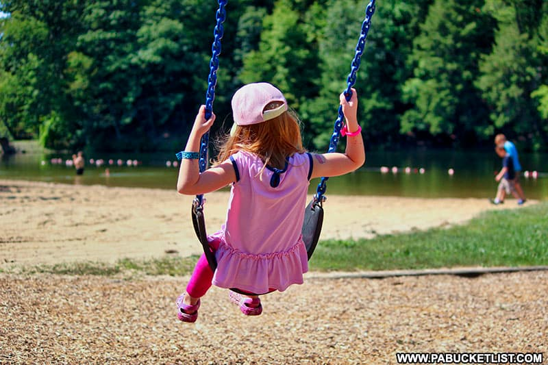 A summer afternoon on the playground at Greenwood Furnace State Park.