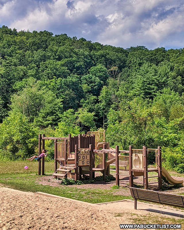 The playground along the beach at Greenwood Furnace State Park.