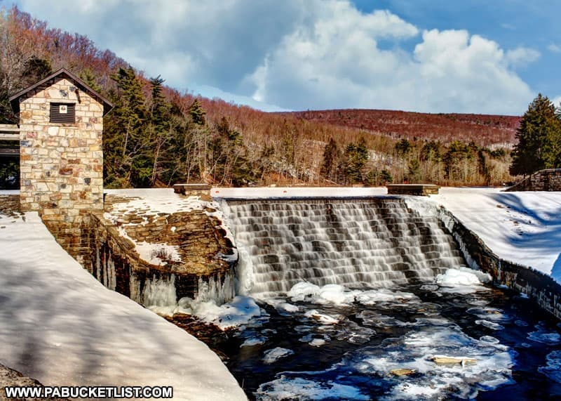 A winter view of the spillway on Greenwood Lake at Greenwood Furnace State Park.