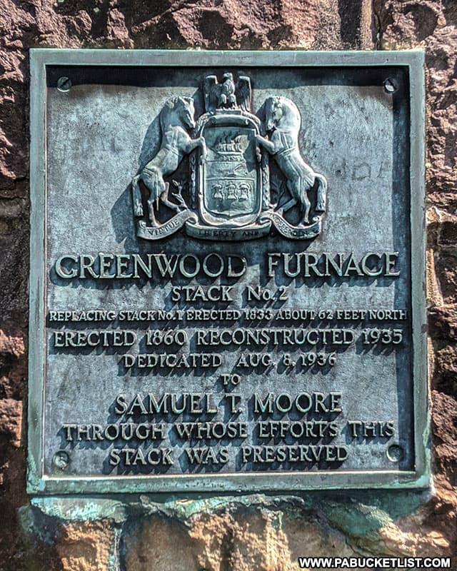Greenwood Furnace Stack Number 2 historical plaque at Greenwood Furnace State Park.
