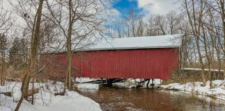 Downstream View of the Hassenplug Covered Bridge in Union County Pennsylvania.