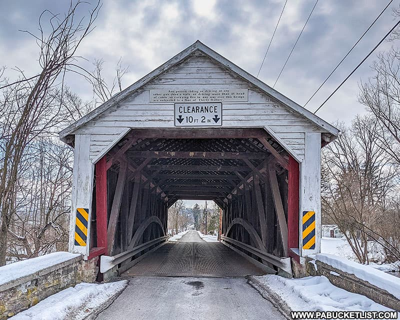 Approaching the Hassenplug Covered Bridge in Mifflinburg, Union County.