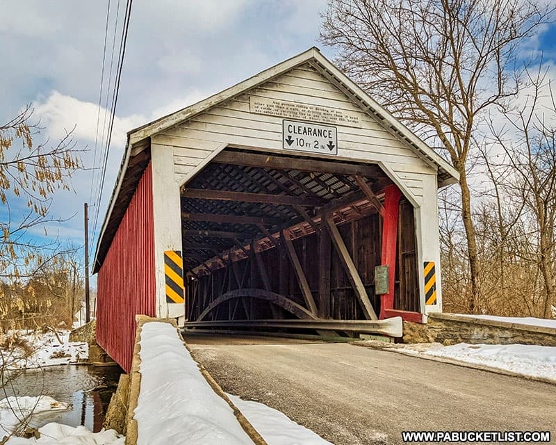 Front of the Hassenplug Covered Bridge.