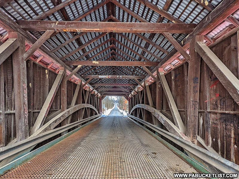 Interior view of the Hassenplug Covered Bridge in Union County PA