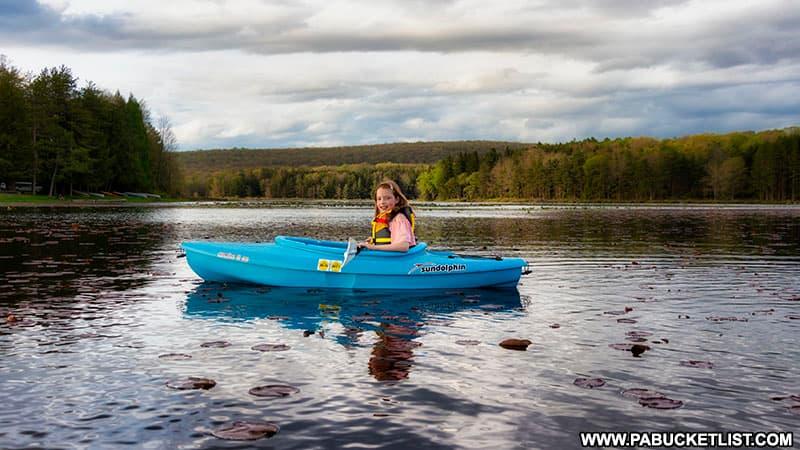 Kayaking on Black Moshannon Lake.