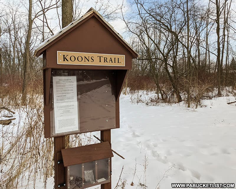 The Koons Trail parking area next to the Hassenplug Covered Bridge in Mifflinburg.