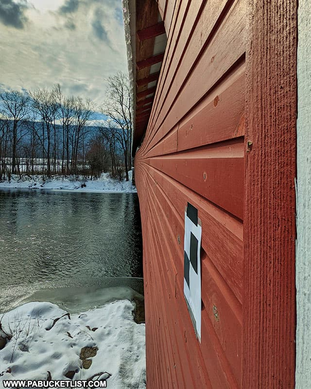 Side of the Millmont Covered Bridge.