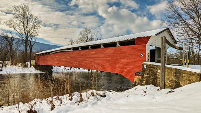 Millmont Red Covered Bridge over Penns Creek in Union County PA