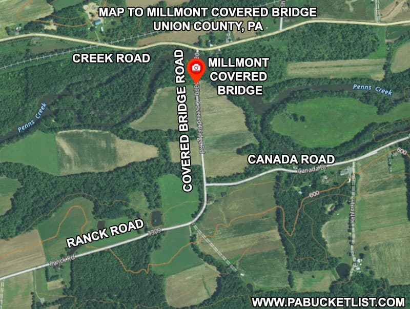 How to find the Millmont Covered Bridge in Union County Pennsylvania.