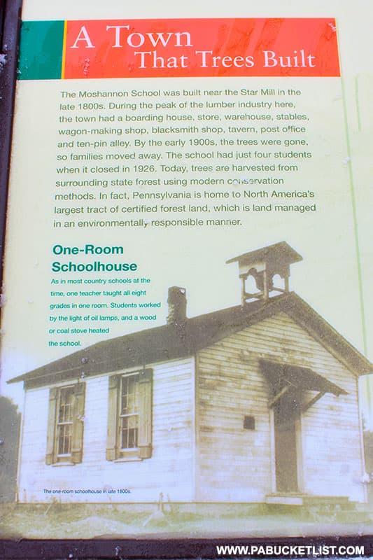 Moshannon School historical marker at Black Moshannon State Park.