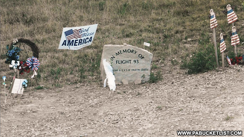 Mementos left by early visitors to the Flight 93 crash site near Shanksville PA.