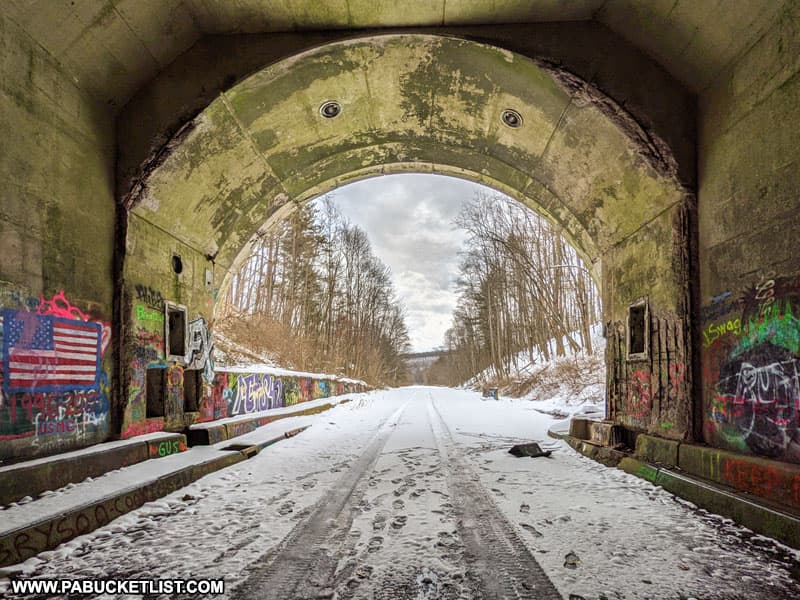 A winter scene from Rays Hill Tunnel along the Abandoned Pennsylvania Turnpike.