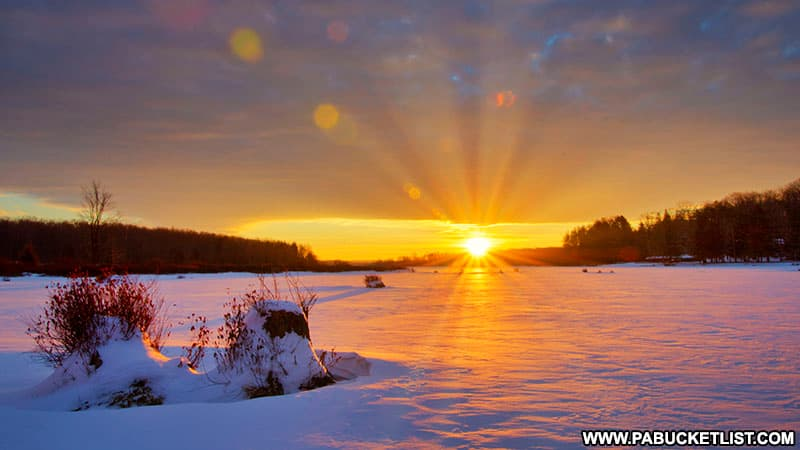 Just before sunset at frozen Black Moshannon Lake.